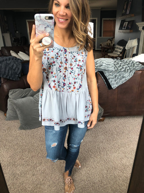 Brighten My Day Embroidered Floral Cool Grey Peplum Tank