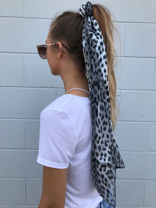Makes Me Believe Black & White Stripe Animal Print Hair Scarf
