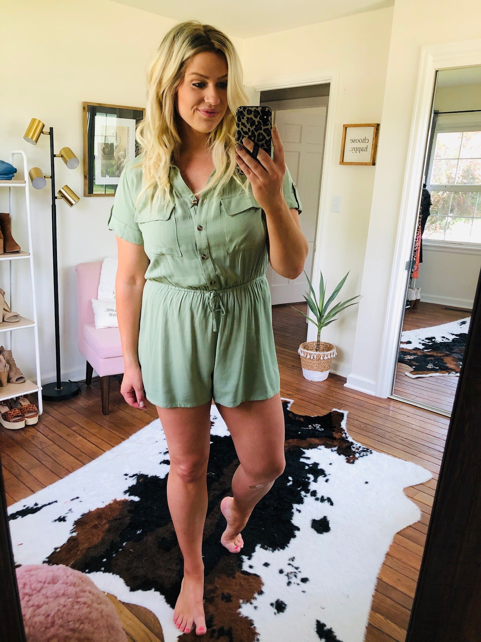 Afternoon Safari Light Olive Button Down Front Romper with Elastic Waist