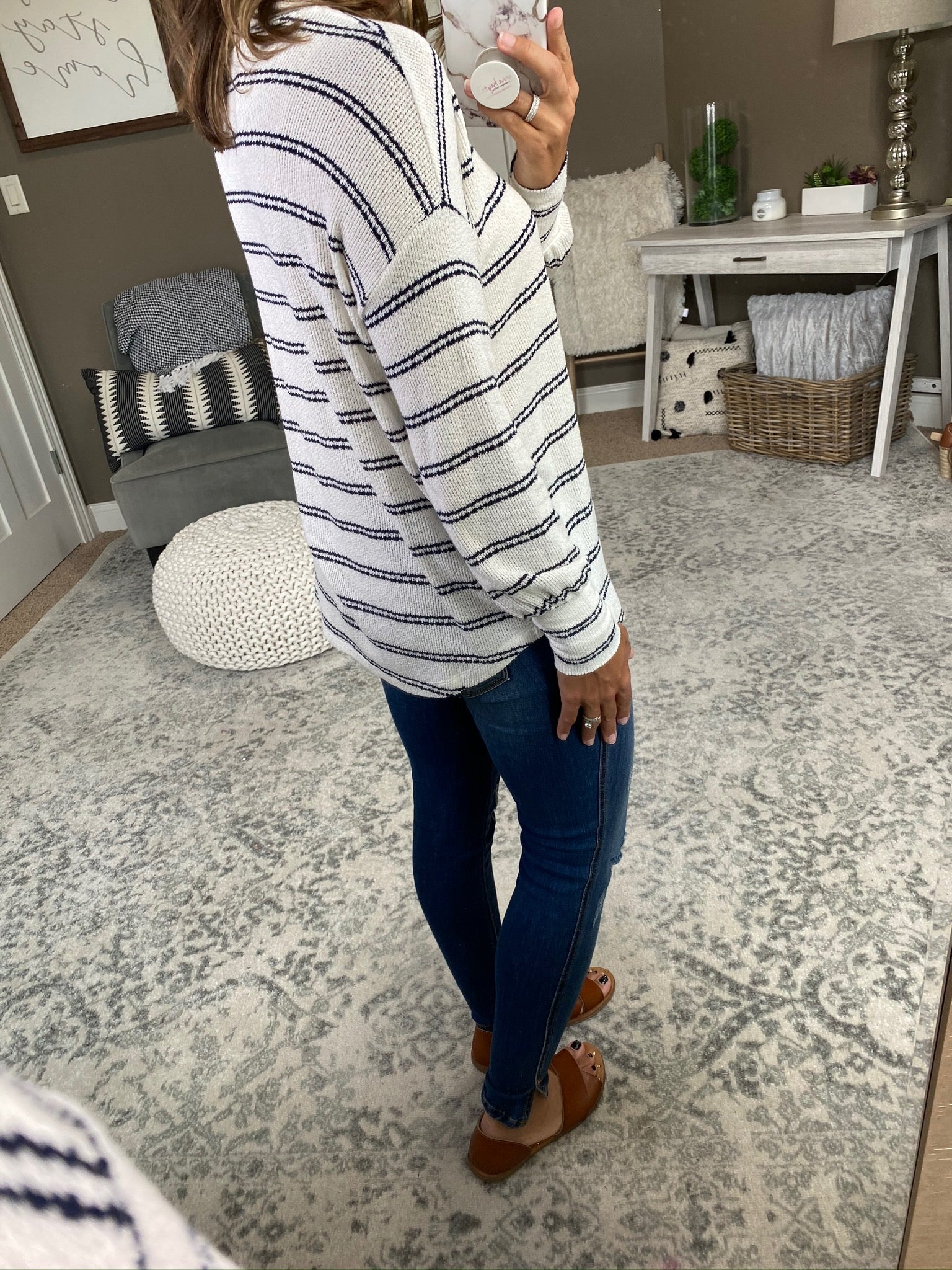 If I Know Me White Knit Sweater With Navy Stripes