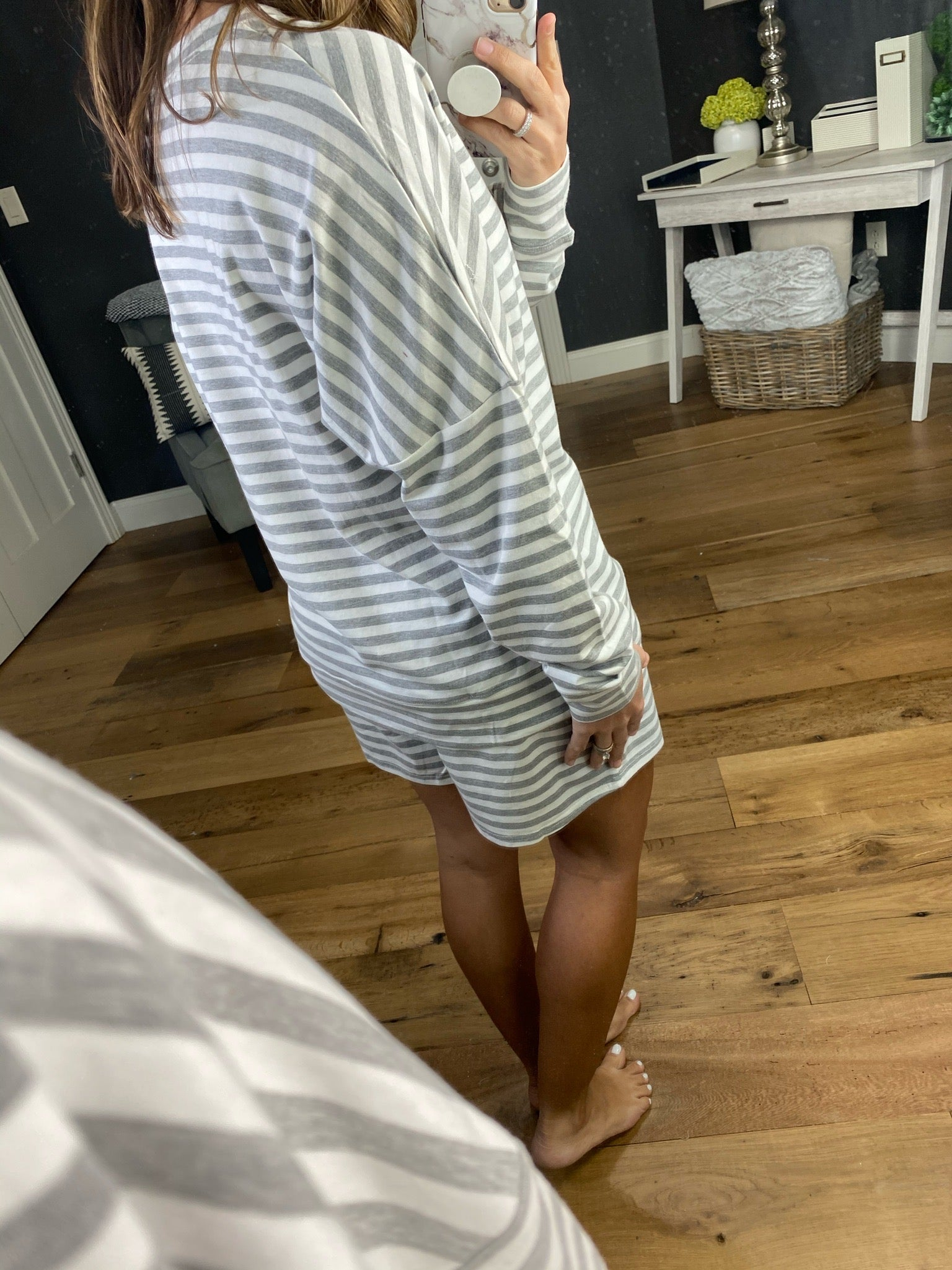 Chill Mode Grey and Ivory Striped Long Sleeve and Short Lounge Set