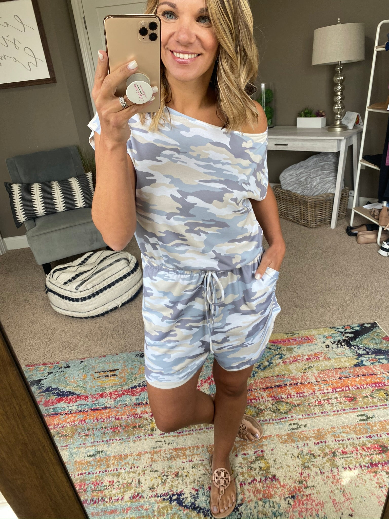Time of Our Lives Light Wash Camo Romper with Pockets