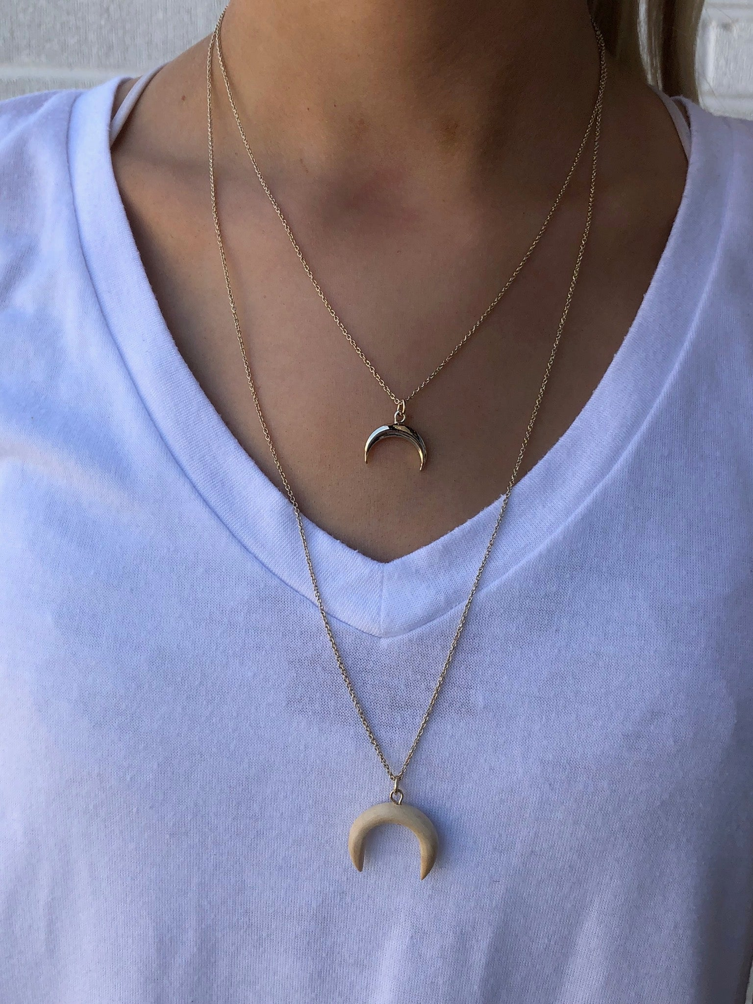 By The Light Of The Moon Layered Horn Necklace