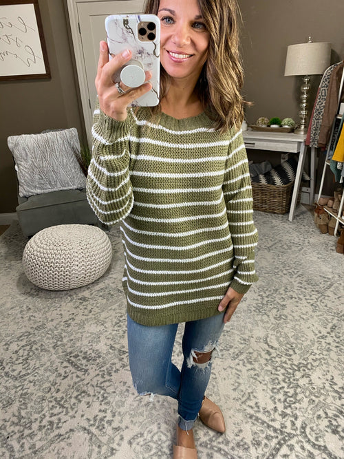 Let's Be Friends Olive and Ivory Stripe Knit Crew Sweater with Rounded Hem