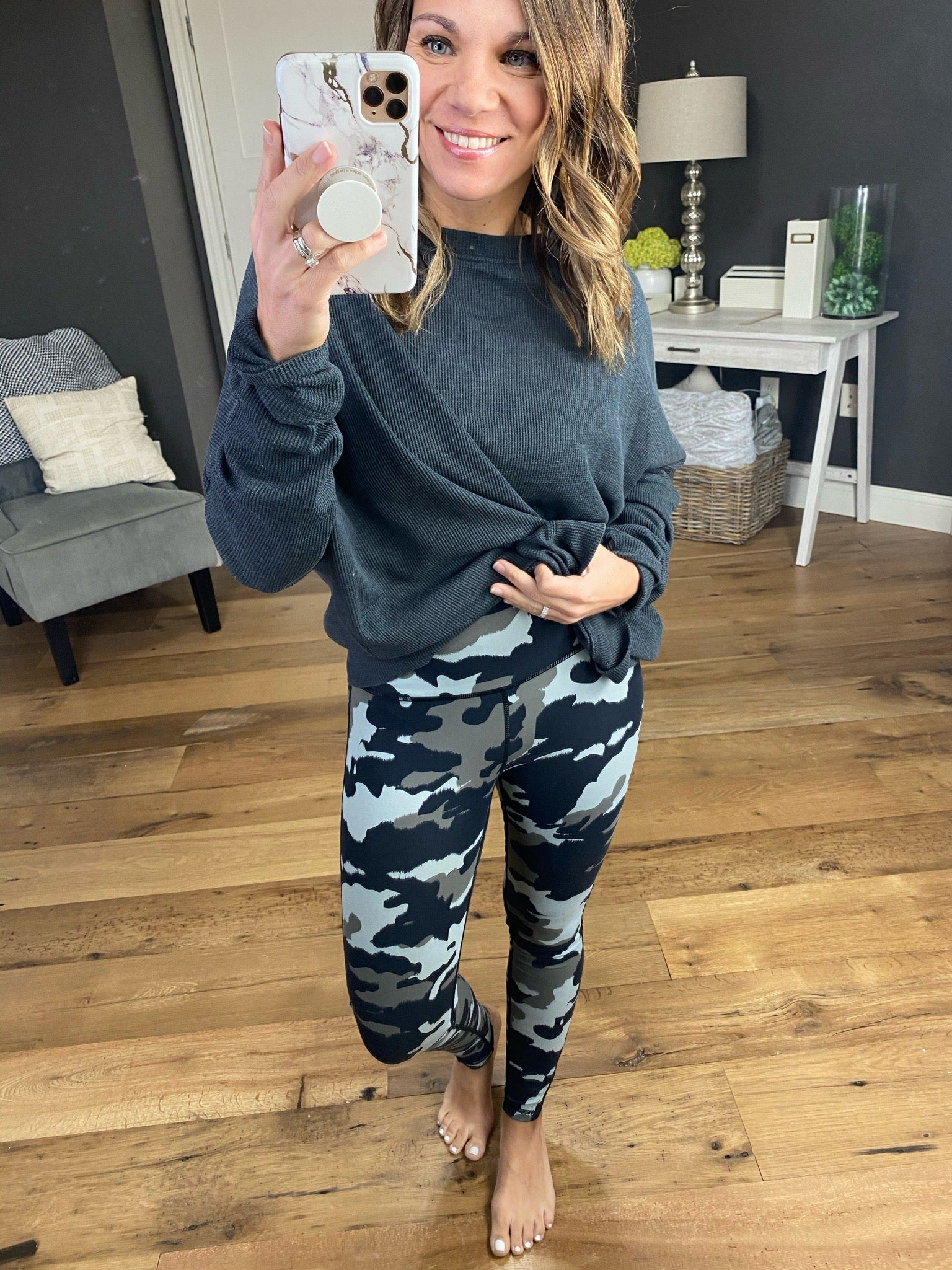 Get On The Road Grey Camo High Waisted Leggings with Mesh Ankle Detail