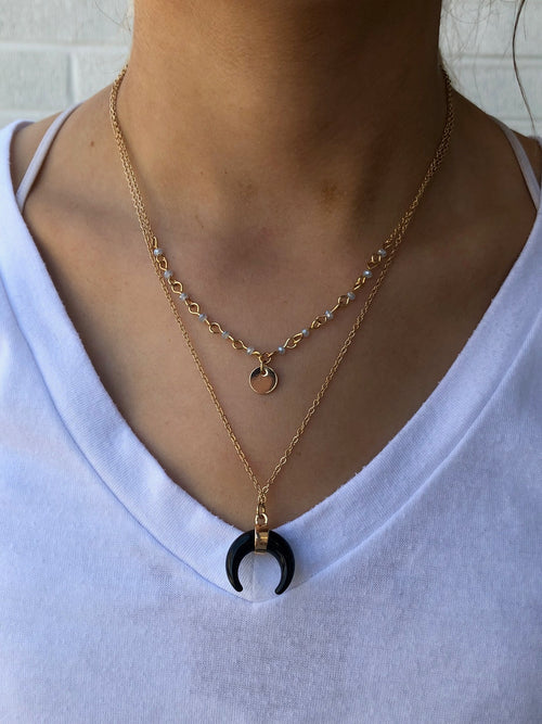 Tender and Tough Black Horn Gold Necklace and Earring Set