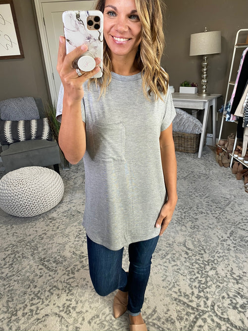 Here I Go Again Grey Tee With Pocket