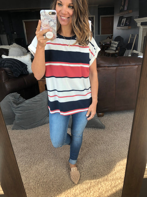 Ready For Anything Striped Tee- Navy, White, Brick