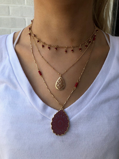 My Senorita Gold and Red Layered Necklace