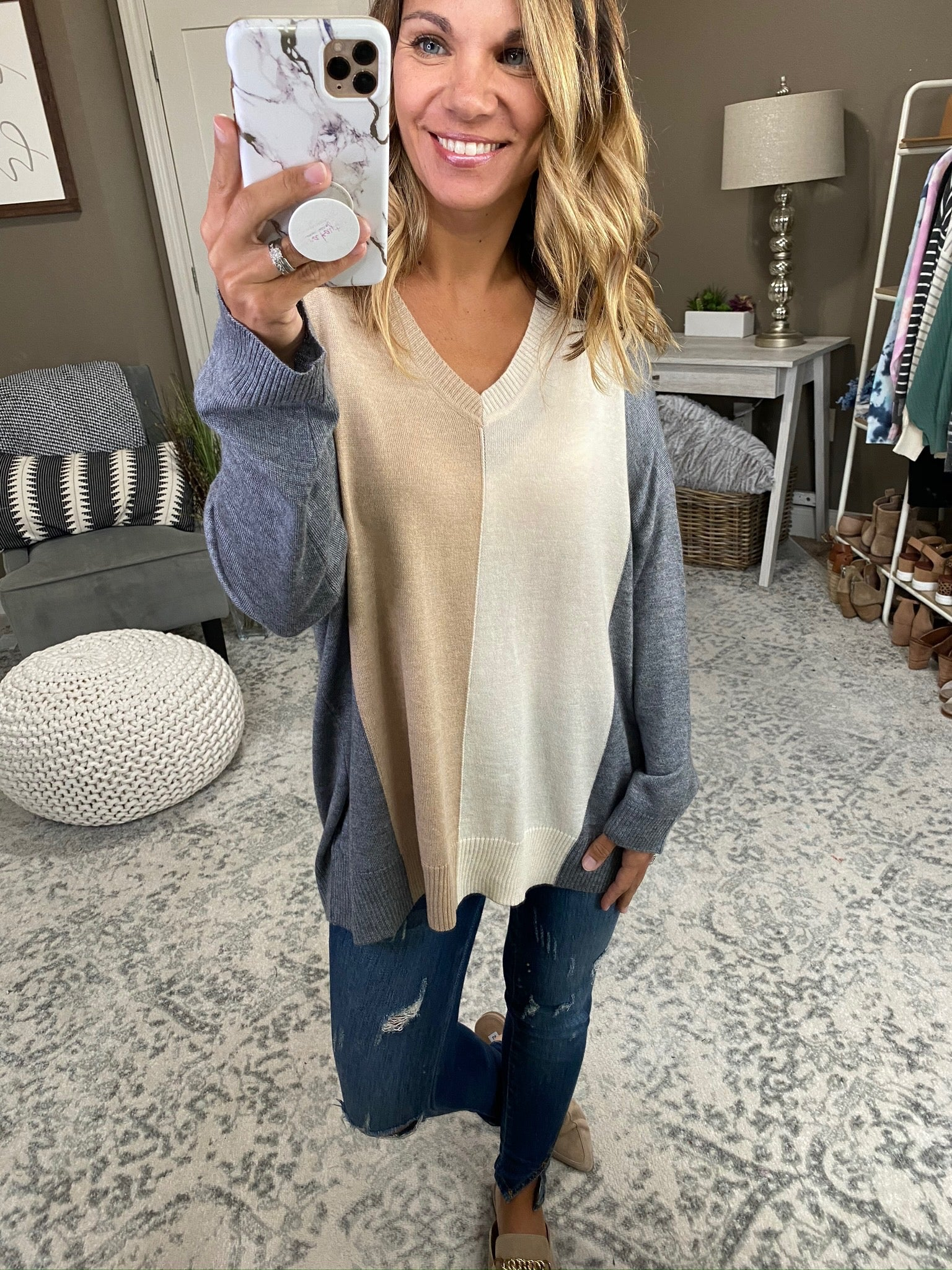 Tell Me More Grey, Ivory and Taupe Split Colorblock V-Neck Sweater