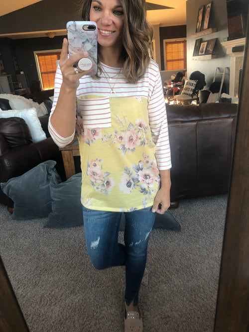 Better Than Ever Pink Striped Mustard Floral 3/4 Sleeve Top