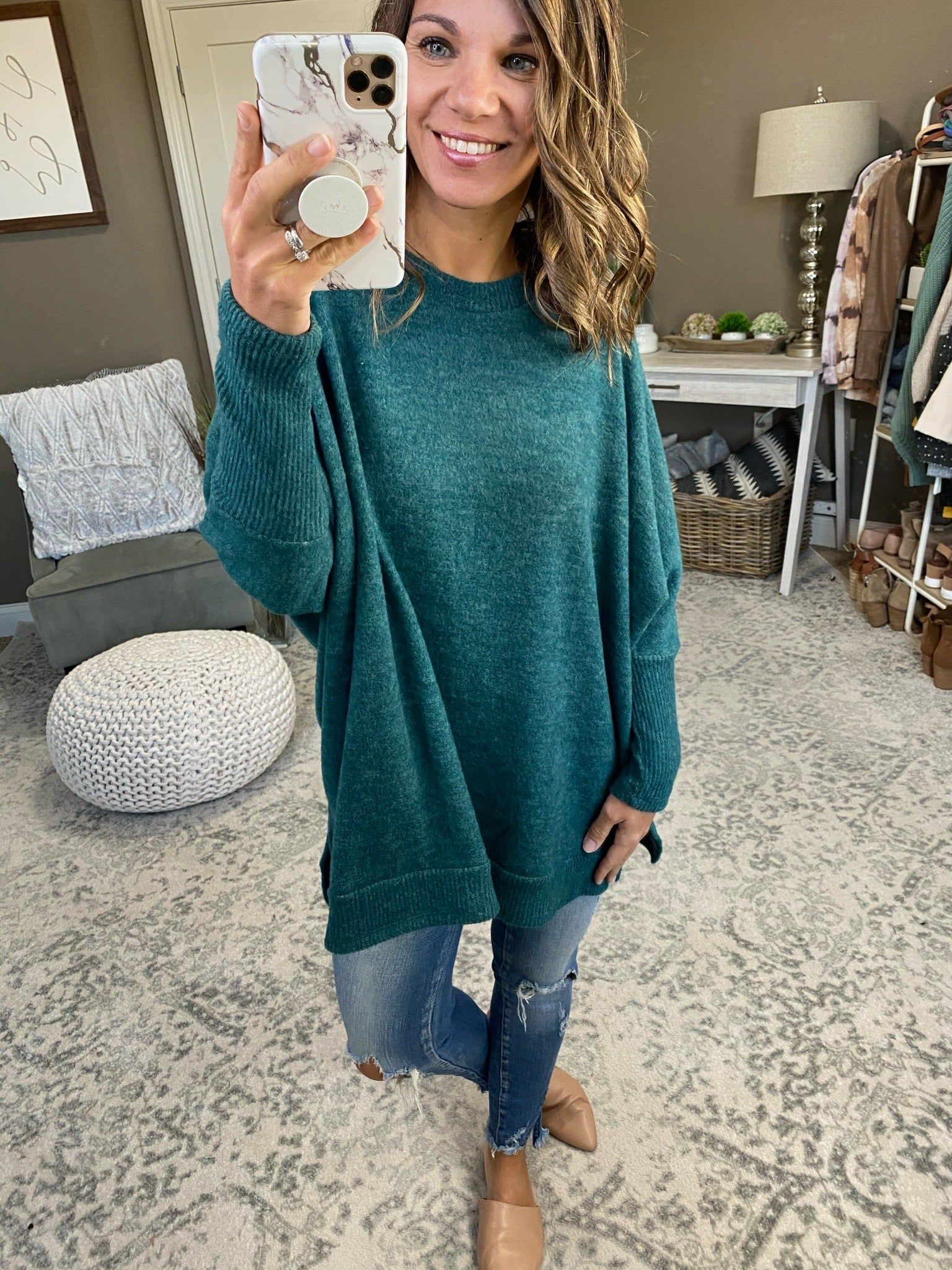 Don't Hesitate Forest Green Brushed Fleece Oversized Long Sleeve