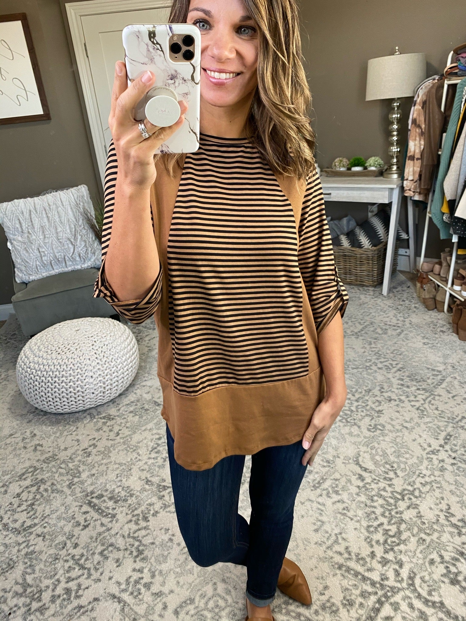 My Two Cents Striped 3/4 Sleeve with Contrast- Multiple Options