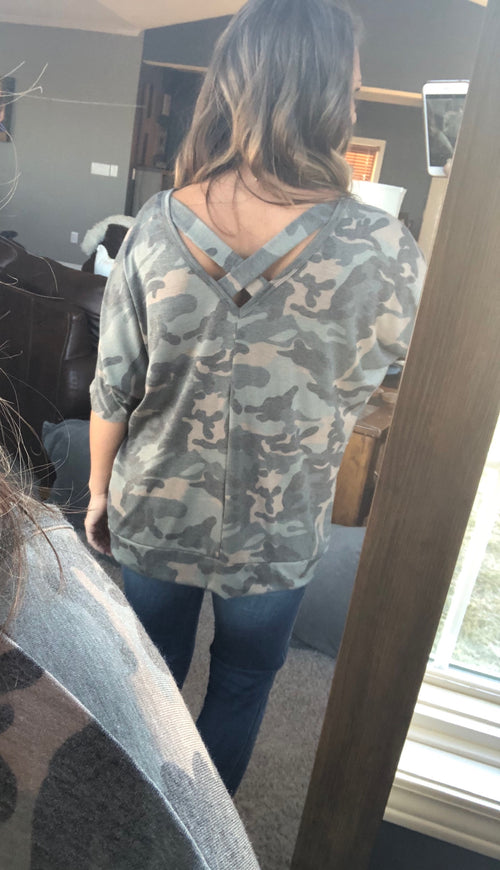 Walking With You Camo Criss Cross Dolman Top