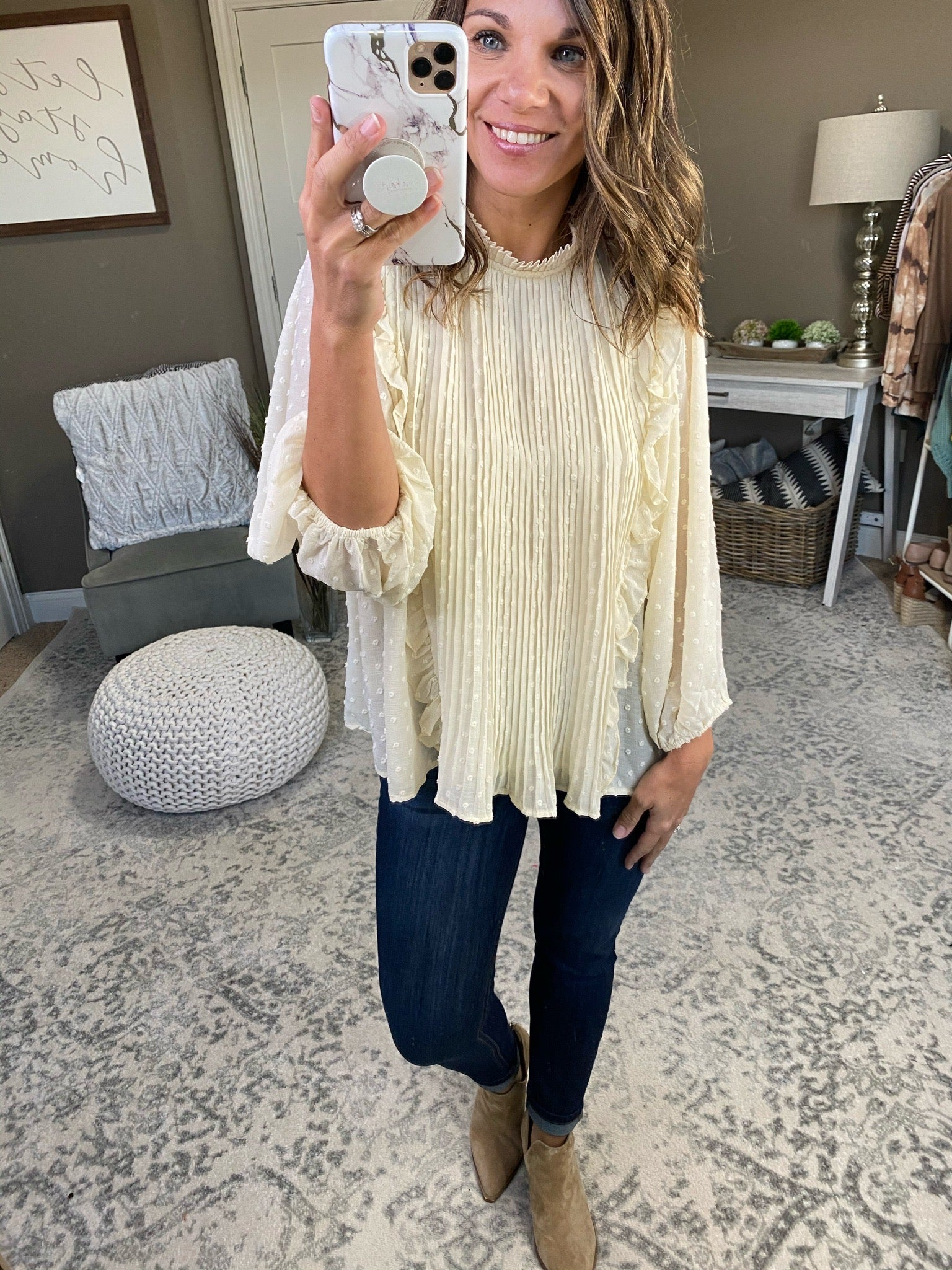 Happier Times Cream Swiss Dot 3/4 Sleeve Blouse with Ruffle Details