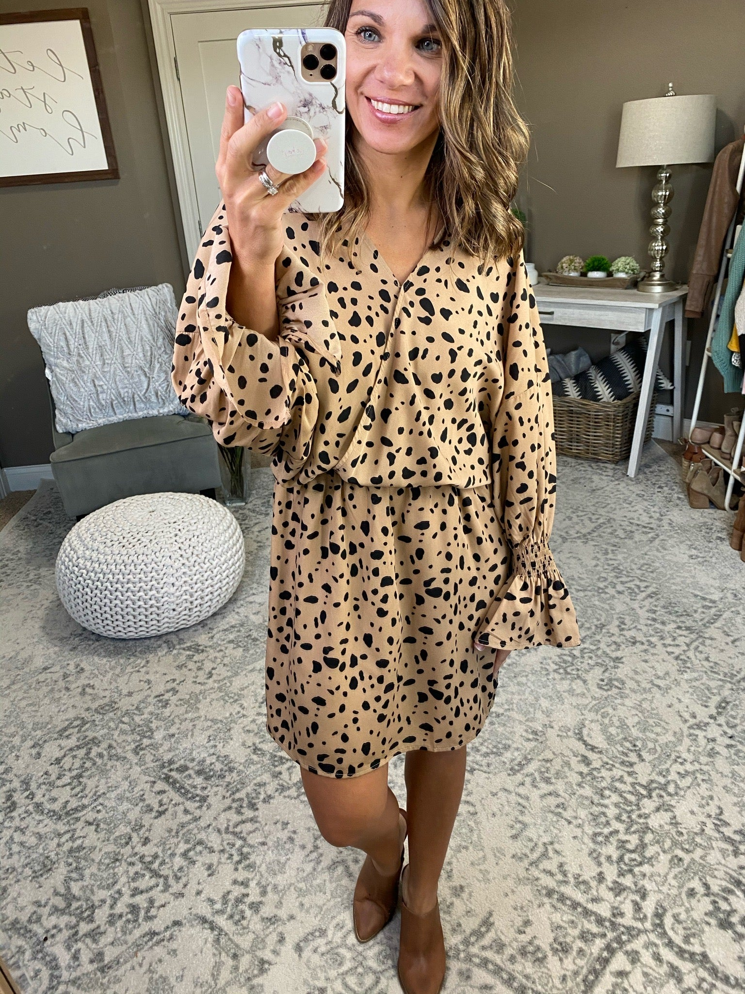 Let Her Fly Taupe Dress With Black Spots and Ruffle Cuff