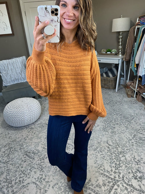 Don't Hold Back Ginger Knit Sweater with Eyelets and Balloon Sleeve