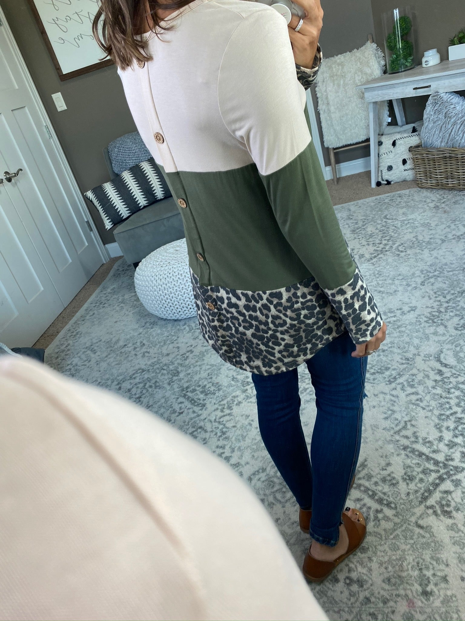 Mess With My Head Cheetah Colorblock Long Sleeve with Button Back Detail--Multiple Options