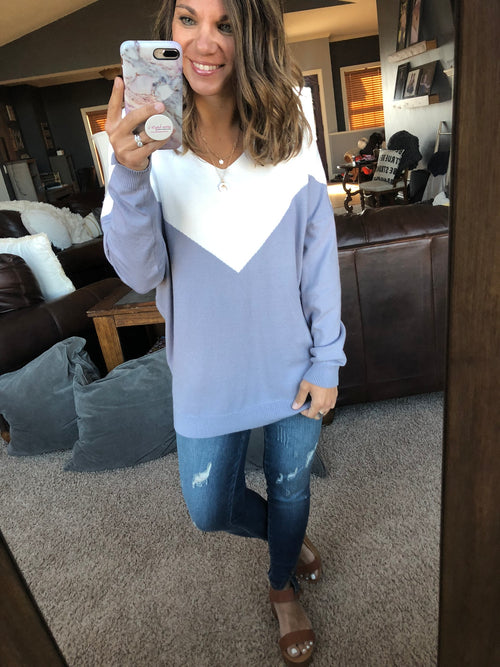 Wishful Heart Colorblock Sweater- Lilac