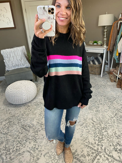 Rise Up Crew Sweater with Mixed Stripes - Multiple Options