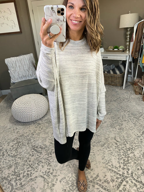 Rise Up Heather Grey Oversized Long Sleeve