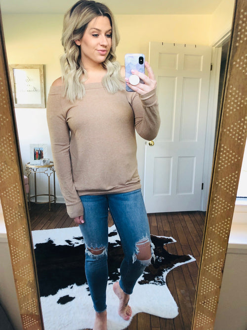 Lets Get Lost Brushed Fleece Off Shoulder Long Sleeve- Taupe