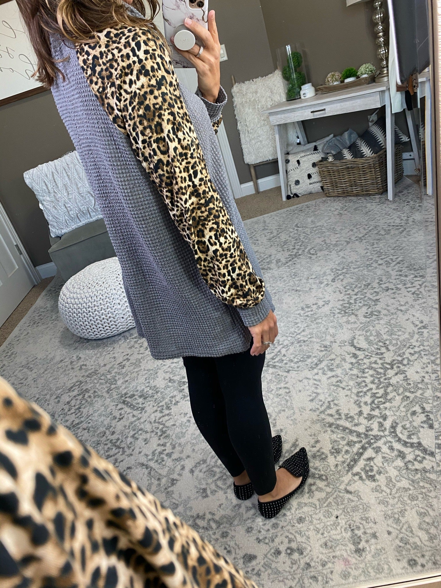 Wild At Heart Grey Waffle Cowl Neck with Leopard Sleeves