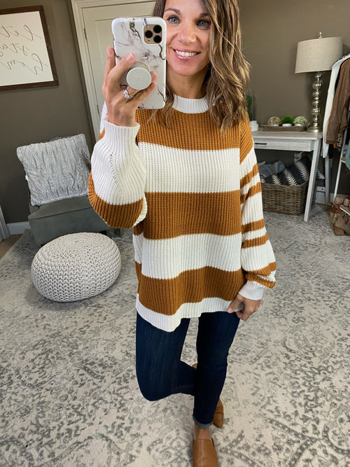 Come Together Medallion and Ivory Striped Knit Crew Sweater