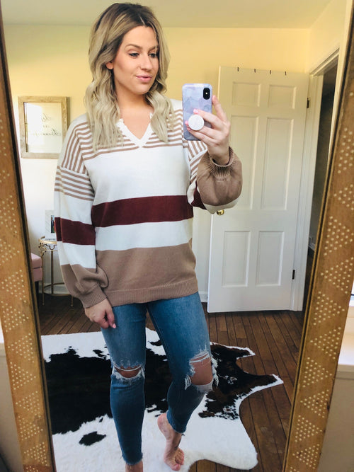 Never Too Busy Striped Split V-Neck Sweater- Raisin/Tan Mix