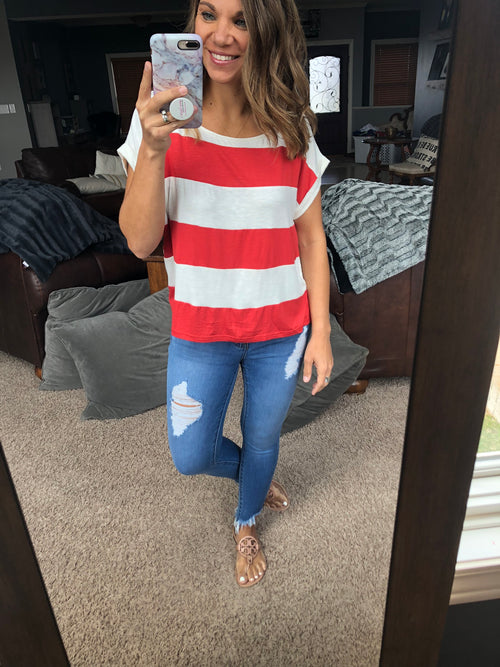 Just You & Me Striped Drop Shoulder Tee- Sienna