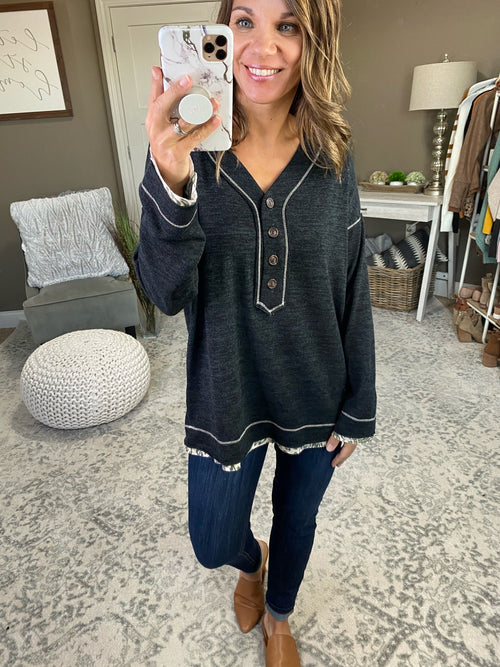 I'll Be Fine Button V-Neck Long Sleeve with Leopard Raw Edge Hem- Multiple Options