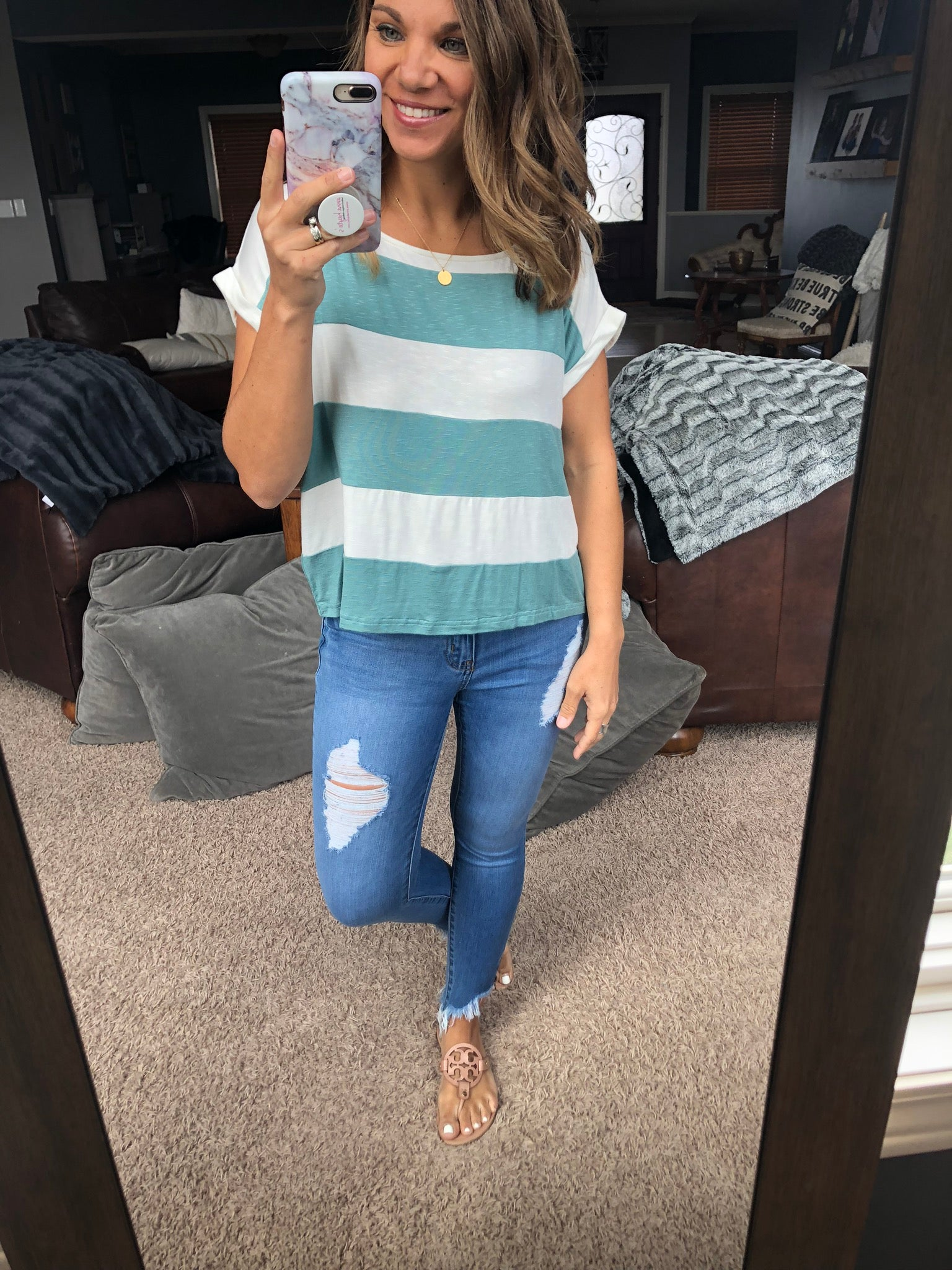 Just You & Me Striped Drop Shoulder Tee- Sky Blue