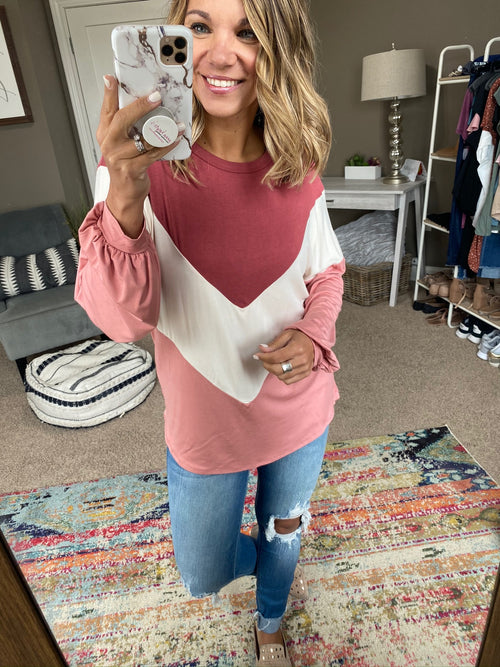 Did You Know Chevron Pink Mix Colorblock Long Sleeve
