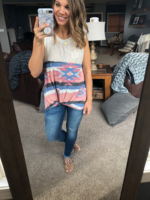 Local Legend Cream and Aztec Front Twist Tank