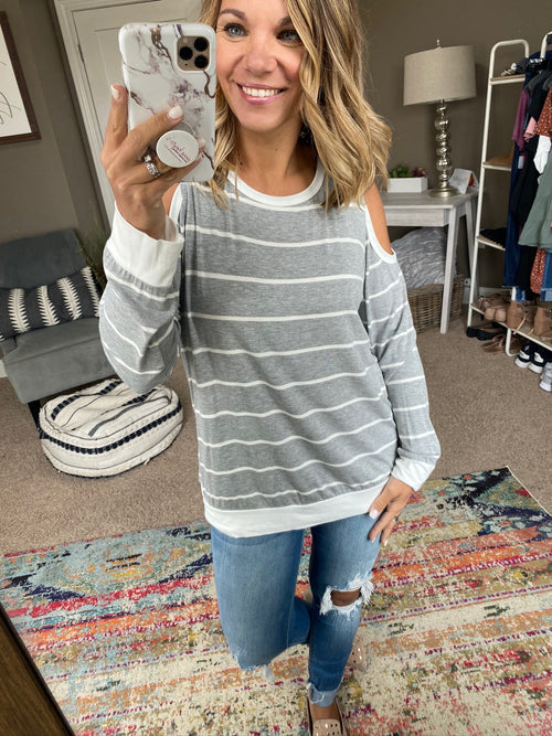 Sweet Summer Cold Shoulder Long Sleeve- Heather Grey & Ivory