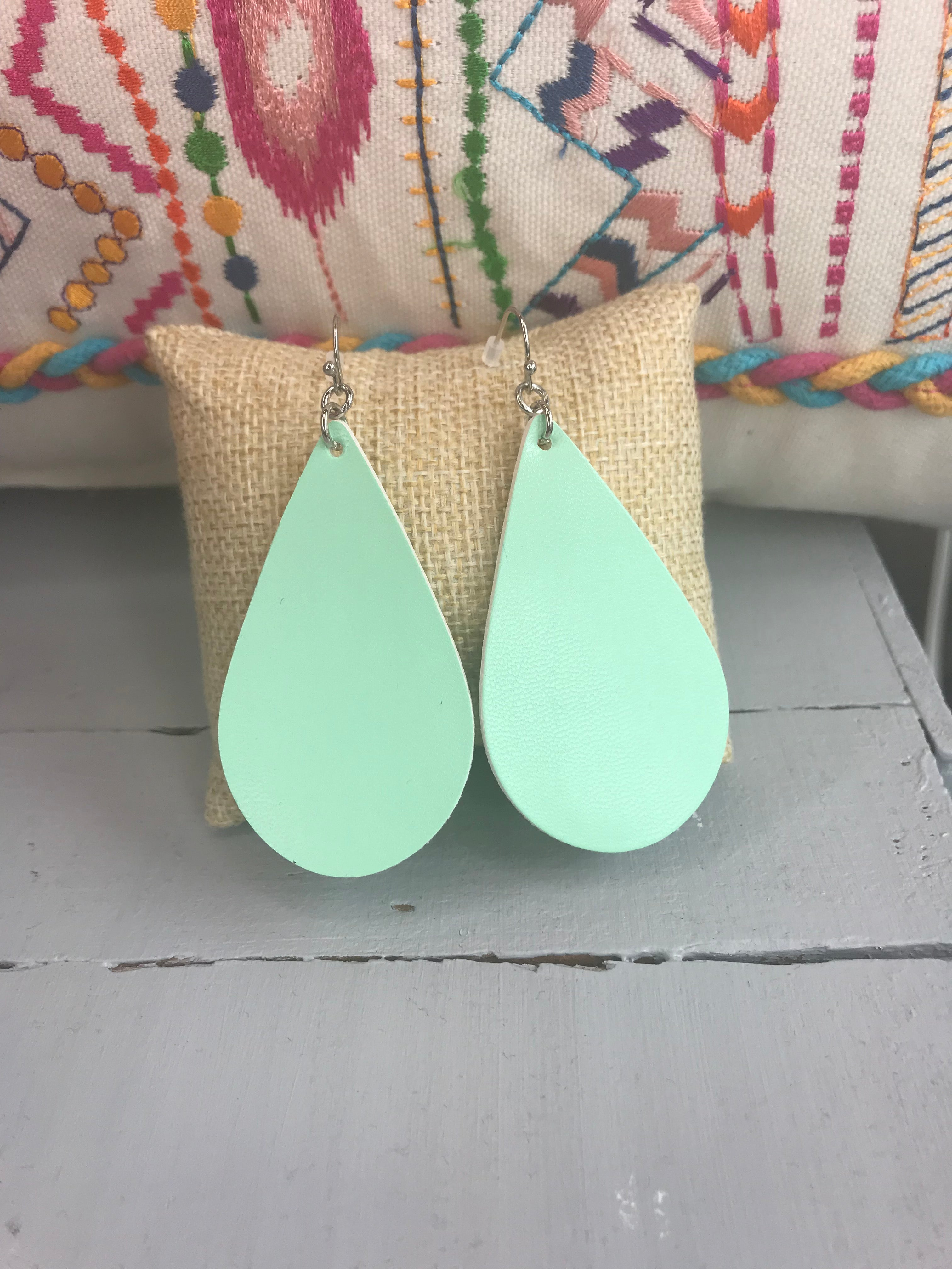 Come Around Tear Drop Faux Leather Earrings- Mint