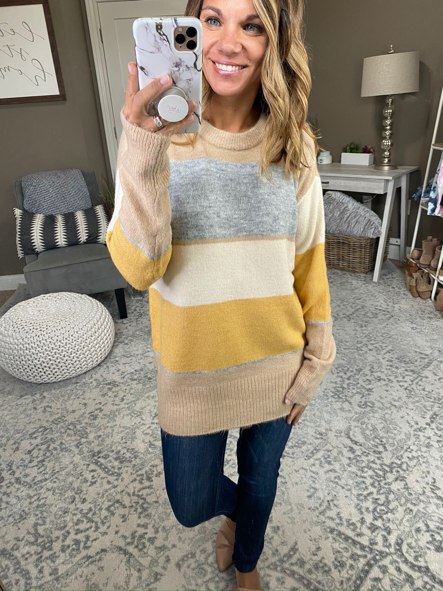 The Good Ones Colorblock Striped Crewneck Sweater--Multiple Options