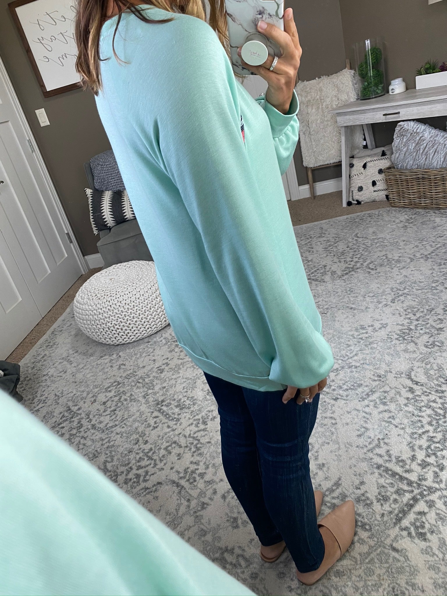 May We All Mint Lightweight Crew Sweatshirt with Chevron Shoulder Detail