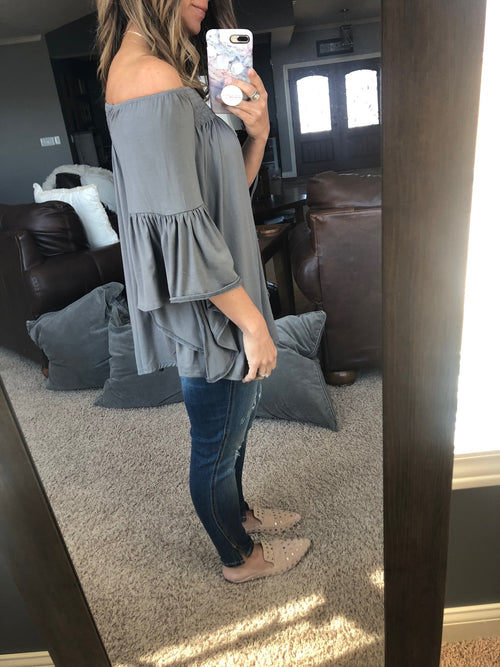 On Your Own Grey Off The Shoulder Top