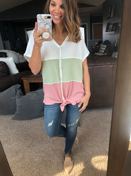 Passing Through Town Color Block Waffle Button Down Tee -  Ivory, Sage, PInk