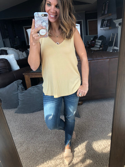 The Kaitlyn V Neck Tank- Dusty Yellow