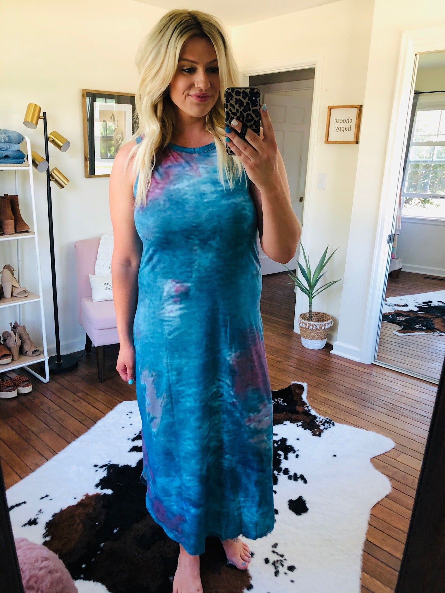 Living In Paradise Blue Mix Tie Dye Tank Style Maxi Dress
