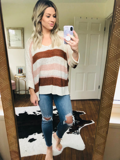 Falling Leaves Striped Dolman Knit Top - Pink/Brown/Ivory