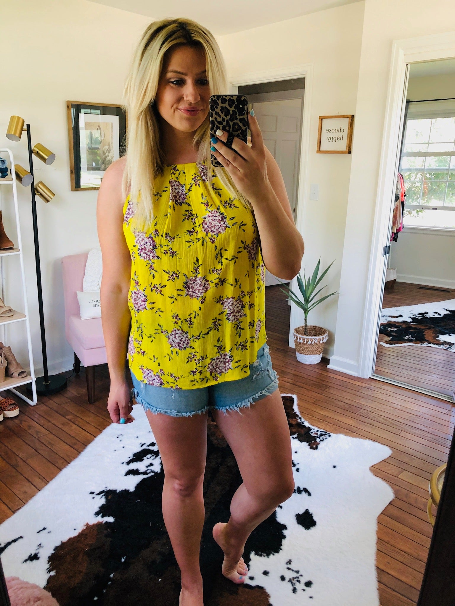 Wide Open Spaces Yellow Floral Halter Tank