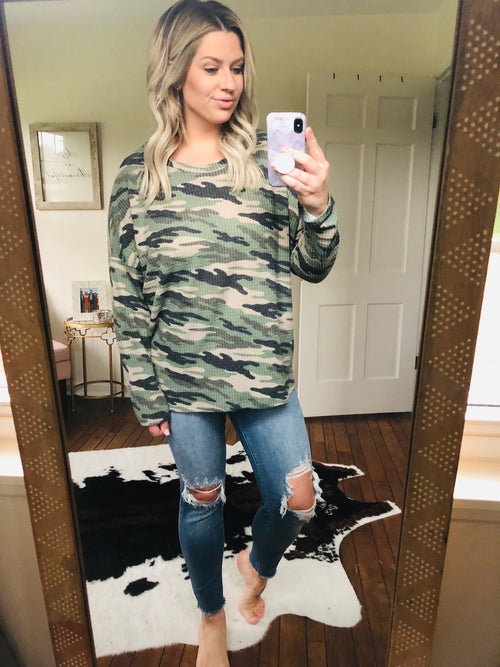 Can't Hide Camo Waffle Long Sleeve