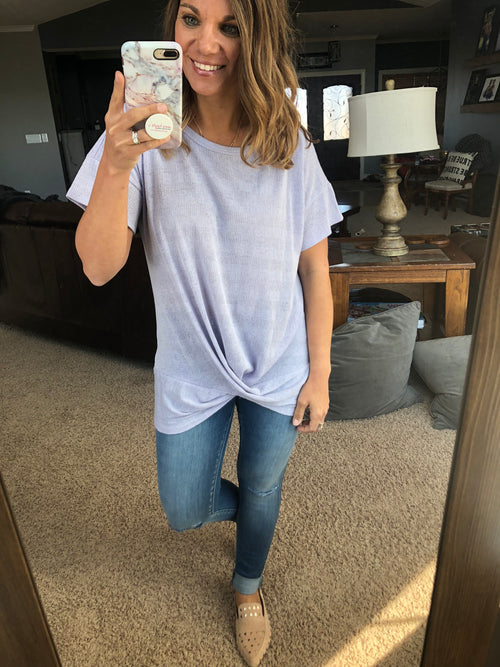 Stop and Stare Front Twist Short Sleeve Tee - Lilac