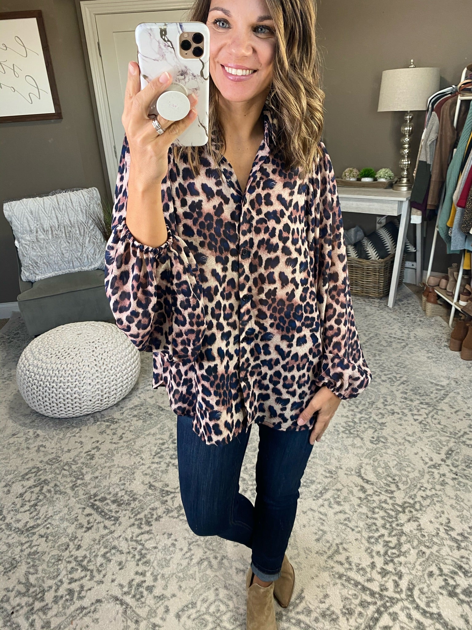 Moment of Truth Mauve & Navy Leopard Blouse