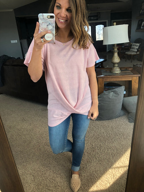 Stop and Stare Front Twist Short Sleeve Tee - Rose