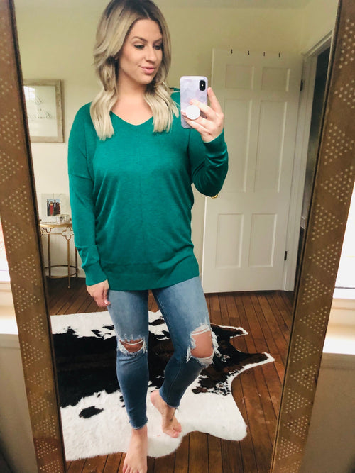 I Think I'm In Love Buttersoft V-Neck Exposed Seam Sweater- Emerald