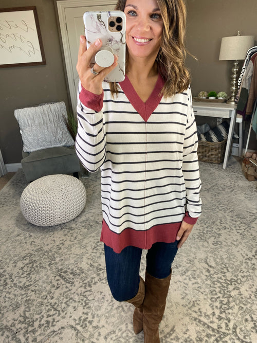 Edge of Glory Striped V Neck Sweater- Brick & Charcoal
